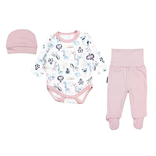 TupTam Conjunto de Ropa Bebés Body y Pantalones y Gorra, Safari Rosa, 62