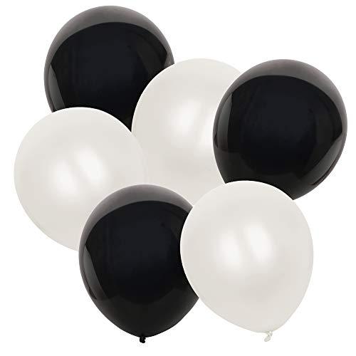 TRIXES Packung mit 50 schwarzen und weißen Latexballons - Stilvoller monochromer Effekt - 30,5 cm - Perfekte Dekoration für Hochzeiten Geburtstage Feste