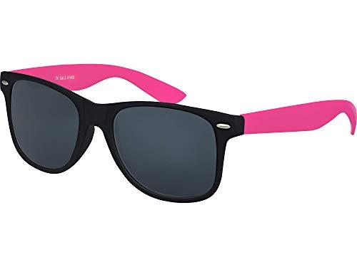 Balinco Hochwertige Nerd Sonnenbrille Rubber im Retro Stil Vintage Unisex Brille mit Federscharnier - 96 verschiedene Farben/Modelle wählbar (Pink/Schwarz - Smoke)