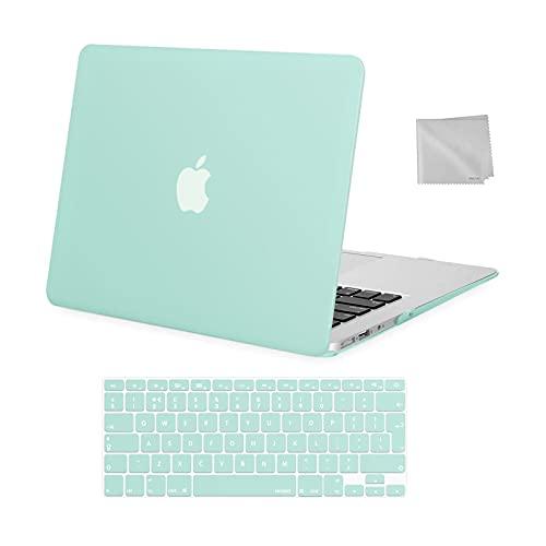 MOSISO Funda Dura Compatible con Macbook Air 13(A1369/A1466, Versión 2010-2017), Carcasa Rígida de Plástico Protectora &Teclado Cubierta&Paño de Limpieza,Menta Verde