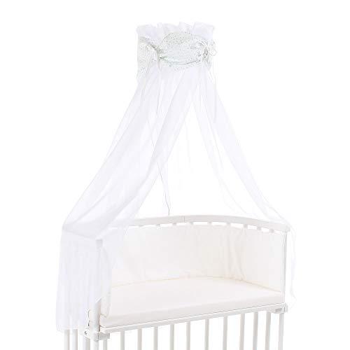 Ciel de lit babybay en coton bio avec nœud adapté aux modèles Original, Maxi, Boxspring, Comfort, Comfort Plus et Midi, blanc avec étoiles pailleté menthe