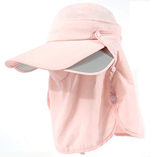 ZSJZSJ Mosquito Head Net Hat Safari Hiking Fishing Hats Sun Protection Hats with Removable Flap with Fins and Hidden Uv UPF 50+ Insect for Men Or Women Outdoor,Pink