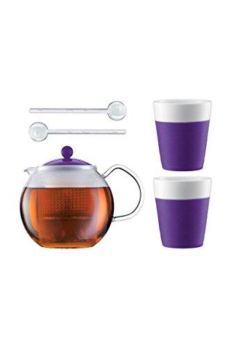 Bodum ASSAM SET Teebereiter mit 2 Gläser und Löffel Violett AK1830-XY-Y15-12