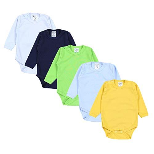 TupTam Jungen Baby Body Langarm Unifarben 5er Pack, Farbe: Farbenmix 1, Größe: 62