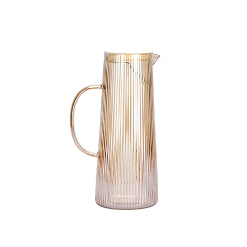 hongbanlemp iced tea pitcher Vertical Pattern Glass Pitcher with Detachable Stainless Steel Tea Compartment Glass Cafare with Handle to Prevent Hot Hands Cold Teakettle (Color : B)