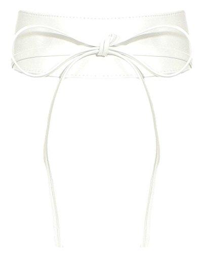 malito Damen Taillengürtel | Echtleder Bindegürtel | breiter Wickelgürtel - Ledergürtel - Hüftgürtel G100 (weiß)