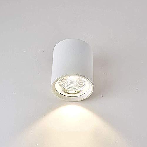 Yaione LED Moderno Techo Foco Luz de superficie Downlight montado Antirreflejo Cilindro blanco Lámpara de techo Foco de superficie Proyector de pared Muro Acabado de níquel [Clase energética A +]