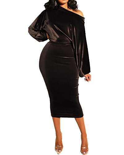 Women Off The Shoulder Velvet Bodycon Long Dress Puffy Sleeve Velour Party Midi Dresses Coffee X-Large