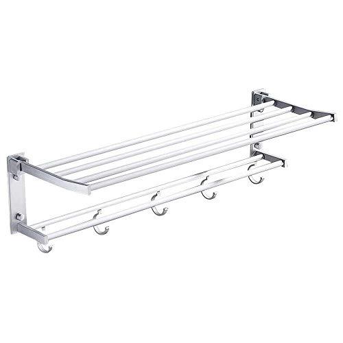 YuKeShop Toallero de 40 cm, doble pared para colgar toallas, estante plegable con 2 pegatinas autoadhesivas y 4 tornillos, peso inferior a 50 kg