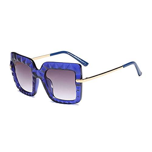Gafas De Sol Hombre Mujeres Ciclismo Gafas De Sol Cuadradas Vintage De Cristal para Mujer, Lentes De Gradiente De Metal, Gafas De Sol para Hombre, Blue_Grey