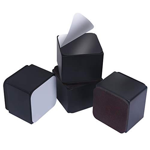 Ezprotekt Elevadores de Muebles de 5 cm, Elevadores de Cama de Acero al Carbono, Diámetro de 6 cm, Autoadhesivos, Resistentes, Añade 5 cm de Altura a las Camas y Sofás,Cuadrado Negro