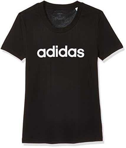 adidas Damen W E LIN Slim T T-Shirt, Black/White, XS