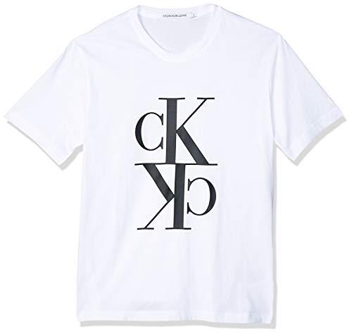 Calvin Klein Jeans Mens Mirrored Monogram REG Tee T-Shirt, Bright White/Black, L