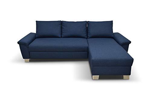Domo Collection Ethan Ecksofa | Polsterecke L-Form Eckcouch | 248x158 cm | Kleine Sofa Wohnlandschaft in blau
