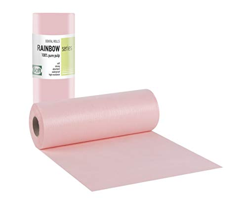 Tegcare Dental, Kosmetik, Tattoo, Patientenservietten Roll, wasserdicht, 29cm x 50m (1, Rosa), 470 g