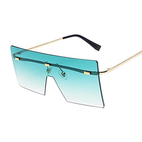 HSCDQ Vintage Square Gafas De Sol Mujeres Siamese Oversized Sun Gafas para Mujeres Marca De Lujo Lente Océano Rimless Big Shades Oculos De Sol exc.tq (Lenses Color : 1)