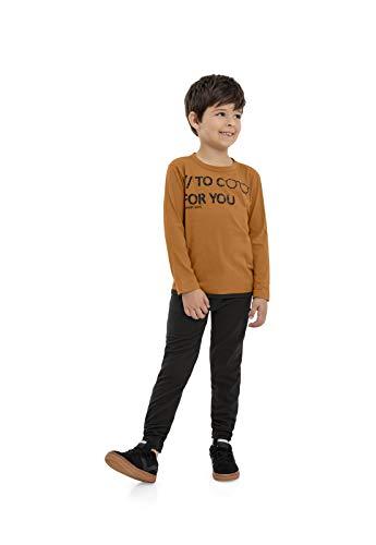 Camiseta Infantil Manga Longa, Quimby, Meninos, Marrom Sudao, 14
