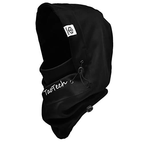 TaoTech フード ネックウォーマー スキー スノボ 防寒 フェイスマスク メンズ レディース 帽子 キャップ (ブラック, ヘルメットサイズ)