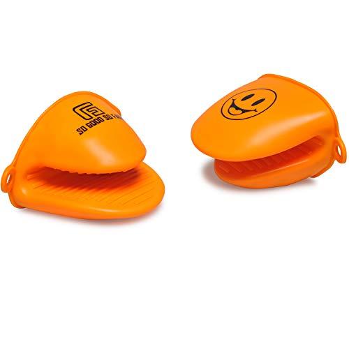 SO GOOD SO FAIR- Topflappen Topfhandschuhe Silikon Topflappen-Handschuh praktisch hitzebeständig hygienisch lustig grün rot orange schwarz für Küche Kochen Backen. (orange)