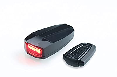 Idem FCC certified rechargeable, wireless, 4 in 1 bike tail light, anti theft alarm, bike finder, and electric horn with remote control.