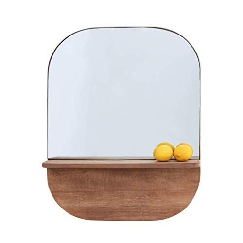 ZHAOJYZ Household Necessities/spiegel voor de muur in de salon, spiegel voor thuis, badkamer, van hout, toiletspiegel met legplank, massief hout