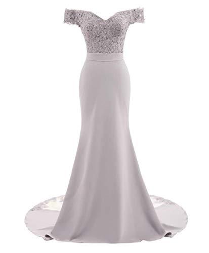 Silver Off the Shoulder Trumpet Wedding Dress