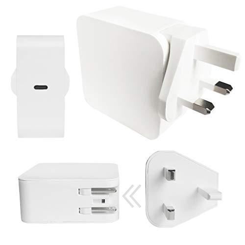 GUPi - Adaptador de corriente USB C 240v intercambiable UK/US Cargador de viaje para Apple Macbook Pro, MacBook Air, Apple iPhone, Apple iPad, otros dispositivos compatibles con USB-C