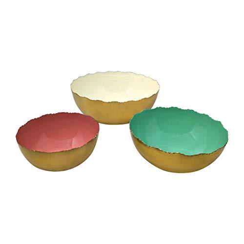 LaLe Living 3-delige set kommen - Trio - van ijzer in goud/roze/mint/wit, Ø 13/15/20,5 cm geschikt als fruit- of saladeschaal en tafeldecoratie