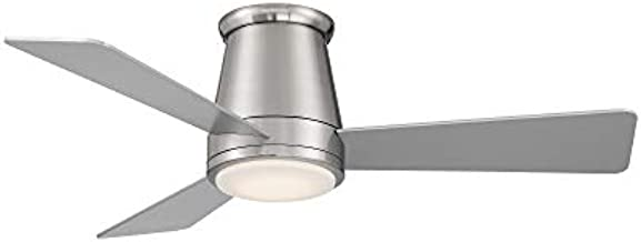 Hug Indoor and Outdoor 3-Blade Smart Flush Mount Ceiling Fan 44in Brushed Nickel with 3000K LED Light Kit and Remote Control