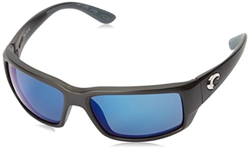 Costa Del Mar Men's Fantail 580P Rectangular Sunglasses, Matte Black/Grey Blue Mirrored Polarized-580P, 59 mm