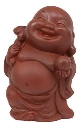 Ebros Laughing Buddha with Wisdom Pearl Feng Shui Bodhissatva Buddha Maitreya Miniature Figurine 2.25' High Hotei Altar Decorative Sculpture Buddhism Statue