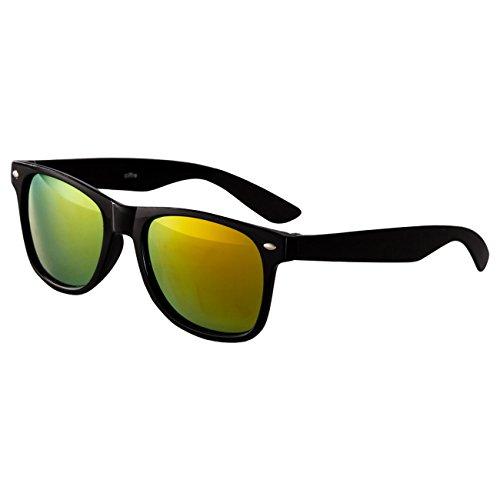 Ciffre Sonnenbrille Nerdbrille Nerd Retro Look Brille Pilotenbrille Vintage Look - ca. 80 verschiedene Modelle Schwarz Feuer Verspiegelt