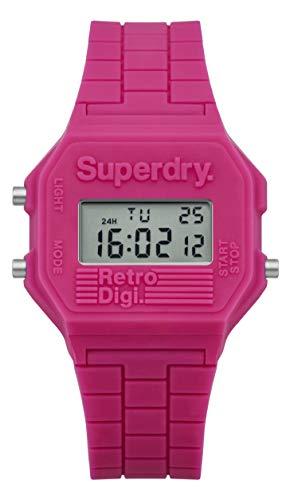 Superdry Reloj Digital para Mujer de Cuarzo con Correa en Silicona SYLSYL201P