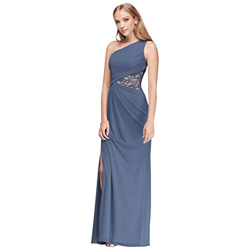 One-Shoulder Mesh Bridesmaid Dress with Lace Inset Style F19419, Steel Blue, 2