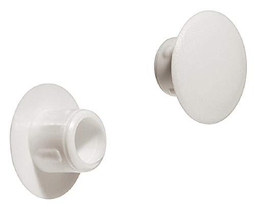 Gedotec Schroef-afdekkingen, wit, ronde schroefdoppen om in te persen | H1125 | Ø 8,5 mm | voor blindboring | 50 stuks