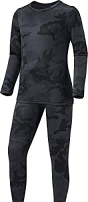 TSLA Kid's & Boy's and Girl's Thermal Underwear Set, Soft Fleece Lined Long Johns, Winter Base Layer Top & Bottom, Boy Thermal Set(khs300) - Woodland Slash Black, Medium