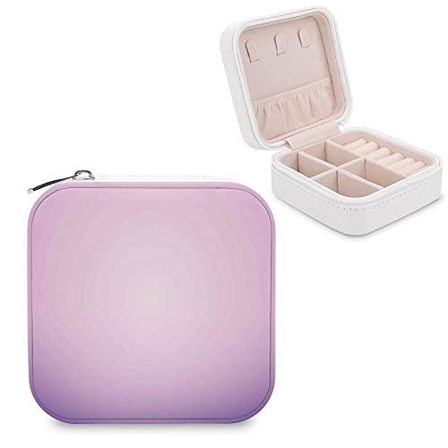 Organizador de joyas de viaje para niñas, mujeres, regalo rosa y morado, diseño de degradado moderno, color pastel degradado, portátil, para anillos, pendientes, collares
