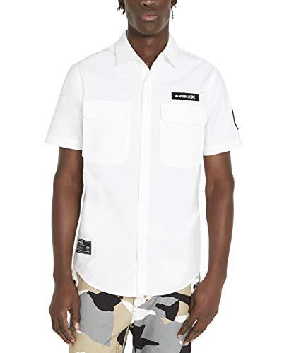 Avirex Men's Core Short Sleeve Officer Shirt, White, Large