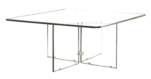 "Homelegance Alouette 36"" All Glass Square Coffee Table, Clear"