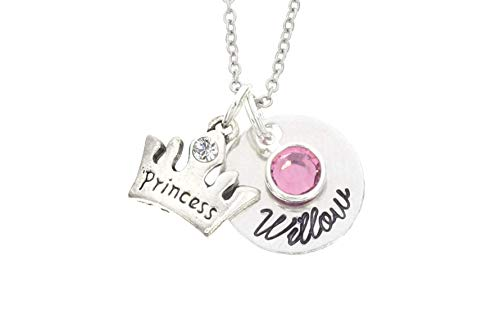 Personalized Girls Princess Necklace - Custom Name Birthstone Color - Handstamped 5/8 Inch Disc- Party Favor Jewelry - DII AAA