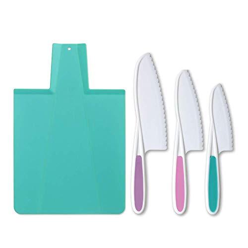 Tovla Jr Kids - Juego de cuchillos de cocina y tabla de cortar plegable: cuchillos de cocina para niños en 3 tamaños y colores/agarre firme, bordes serrados, cuchillos para niños sin BPA, lechuga segura y cuchillos de ensalada