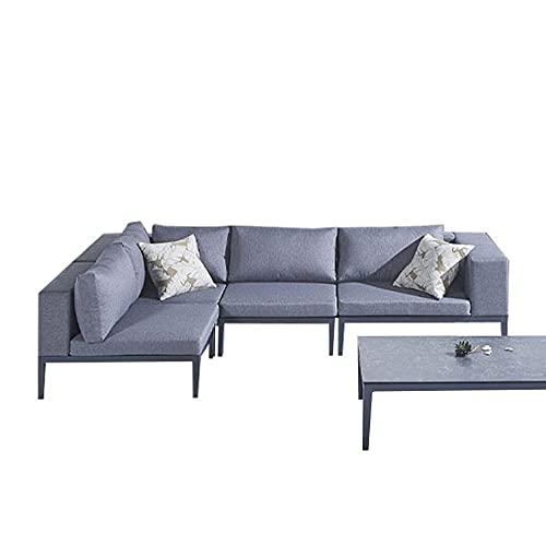 Meubletmoi - Salotto da giardino TOMI, modulabile, con 2 angoli, 2 poltrone e 1 tavolino in alluminio grigio antracite e rivestimento idrorepellente