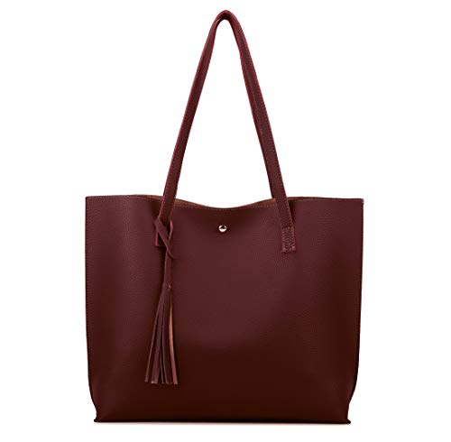 Nodykka Women Tote Bags Top Handle Satchel Handbags PU Pebbled Leather Tassel Shoulder Purse,One Size,Redwine