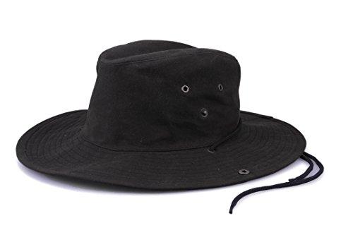 Krumba Baumwolle Oilskin Draussen Wasserdicht Cowboyhüte Hüte Mützen schwarz L/XL