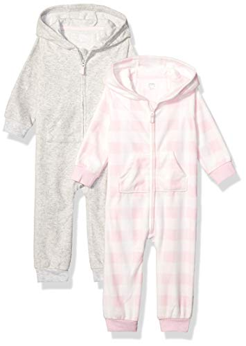 Amazon Essentials 2-Pack Microfleece Hooded Coverall Fashion-Hoodies, Pink Buffalo Check, Bebé prematuro