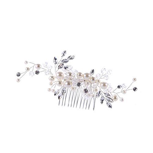 Scopri offerta per Minkissy pettine per capelli da sposa strass accessori per capelli da sposa in perle con strass fiore capelli pettine fermagli per capelli da sposa