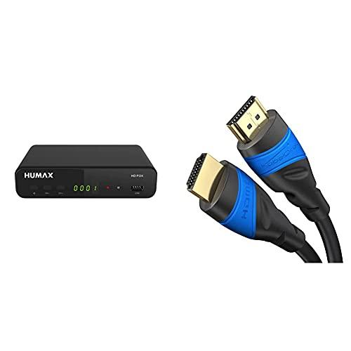 Humax Digital HD Fox digitaler HD Satellitenreceiver mit 1TB Festplatte HDD Sat Receiver & KabelDirekt – 2 m – 4K HDMI-Kabel (4K@120Hz und 4K@60Hz für EIN spektakuläres Ultra-HD-Erlebnis, Schwarz)