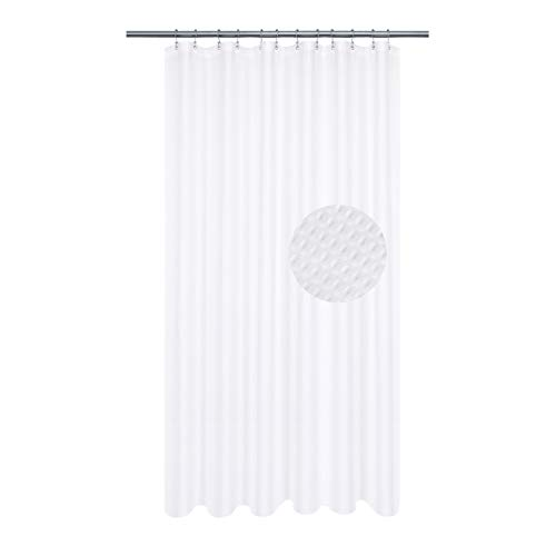 Extra Long Shower Curtain with 86 inch Height, Fabric, Waffle Weave, Hotel Collection, Water Repellent, Machine Washable, 230 GSM Heavyweight, White Pique Pattern Decorative Bathroom Curtain