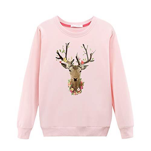 VEMOW Heißer Herbst Damen Frauen Casual Langärmelige Blusen Weihnachten T-Shirt Gedruckt Mit Rundhals Lässige Tägliche Freizeit Lose Pullover(Rosa, 42 DE / 2XL CN)