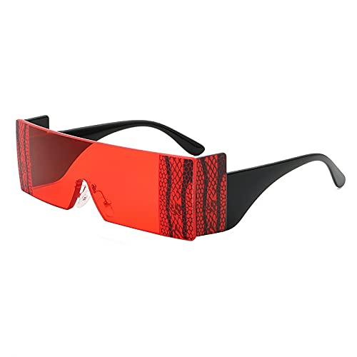 QFSLR Moda Patrón De Serpiente Rectángulo Sin Marco Gafas De Sol para Hombres Y Mujeres Diseño De Una Pieza Protección UV400